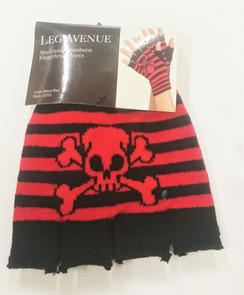 Black and Red striped knitted fingerless gloves with Skull and Crossbones