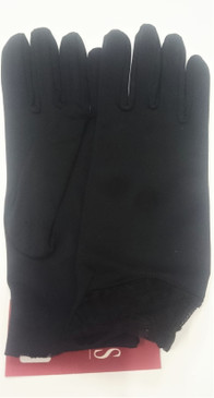 Dents Black Lycra Gloves with lace wrist detail