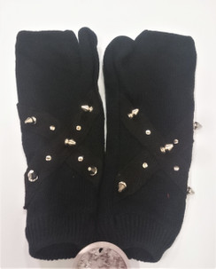 Black knitted fingerless gloves with studs and cone spike detail