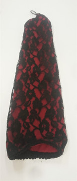 Darkstar Red fingerless gloves with black lace overlay