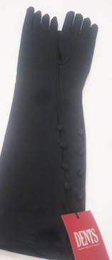 Dents Long Black stretch Gloves with button detail