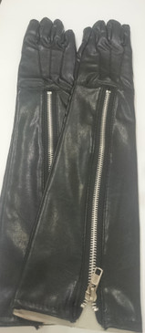 Faux Leather Elbow Length Zipper Gloves - LAST PAIR SIZE Small/Medium