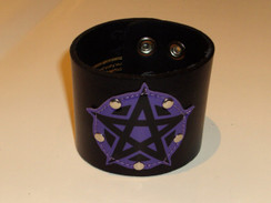 Purple pentagram leather cuff