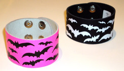 Printed bat leather cuff