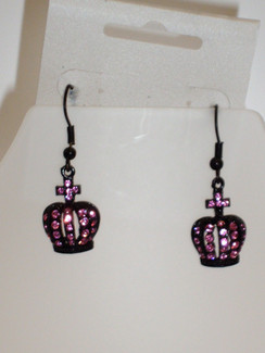 Pink diamontie crown earrings