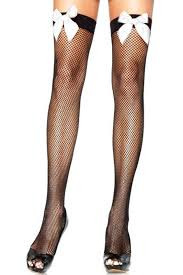 Leg Avenue nylon fishnet thigh-hi with satin bow - more colours