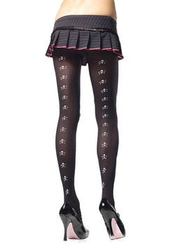 Leg Avenue opaque tights with white mini skull back print