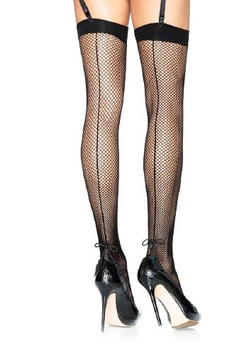 Leg Avenue black spandex fishnet thigh hi with back seam and tassel string bow