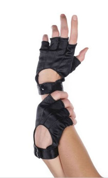 Leg Avenue black satin motocycle gloves