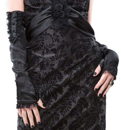 Lip Service Broken Promises black satin gloves with skull buttons LAST ONE SIZE MED/LARGE
