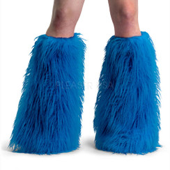 Demonia Yeti boot sleeves - blue faux fur