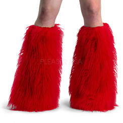 Demonia Yeti boot sleeves - red faux fur