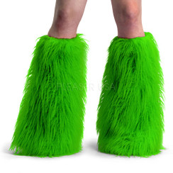 Demonia Yeti boot sleeves - lime faux fur