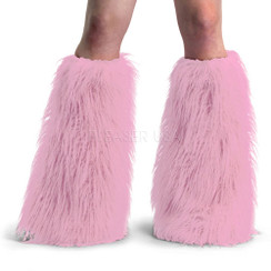 Demonia Yeti boot sleeves - pink faux fur