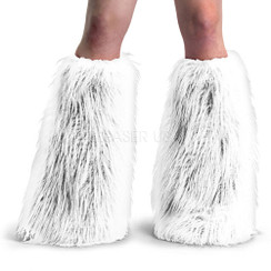 Demonia Yeti boot sleeves - white faux fur