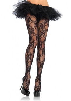 Leg Avenue Floral lace tights - black