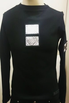 SDL Long sleeve top with metal plates on front and sleeves