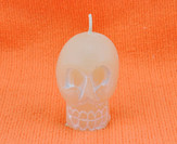 Small White Skull Candle