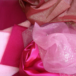 A selection of Organza, Satin, Lame, Net, and Lame.A value pack with over a meter total of fabrics!