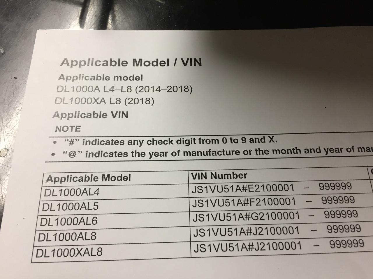 2014-2019 Suzuki V Strom 1000 / DL1000A / DL1000XA Part# 99500-39503-03E  service shop repair manual