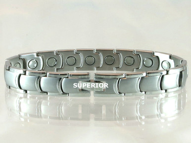 "Magnetic Bracelet Rhodium Curve S 15/32"" wide x 13/32"" long link with 19 rare earth magnets in 9 1/8"" length. It has a magnetic therapy pull strength of 650 grams."