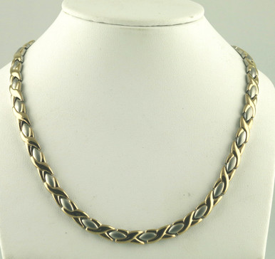 """Magnetic necklace Oval X SG stainless with 33-5200 gauss magnets in a 20"""" length. It has a magnetic therapy pull strength of 1395 grams."""