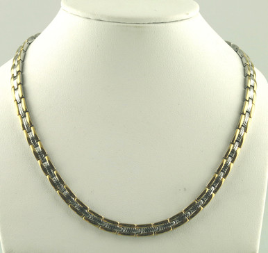"""Magnetic necklace Wimbledon SG stainless steel has a 1/4"""" wide x 11/32"""" long link with 60 rare earth magnets in 22"""" length.It has a magnetic therapy pull strength of 1425 grams."""