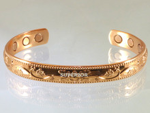 This Magnetic Copper Bracelet has a embossed vine with flowers. Women love this magnetic copper bracelet.
