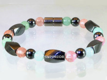 Magnetic bracelet with triple strength magnetic Hematite, Aventurine & Rose Quartz