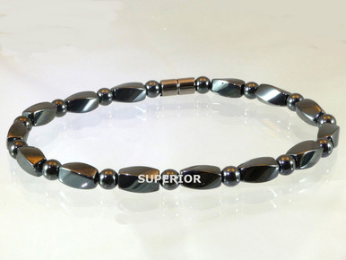 Hematite Magnetic Anklet made with 6mm Twist & Round triple strength magnetic hematite beads