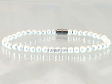 Magnetic Anklet mad with pearlized triple strength hematite