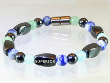 Magnetic Bracelet with triple strength magnetic Hematite, Aventurine & Sodalite
