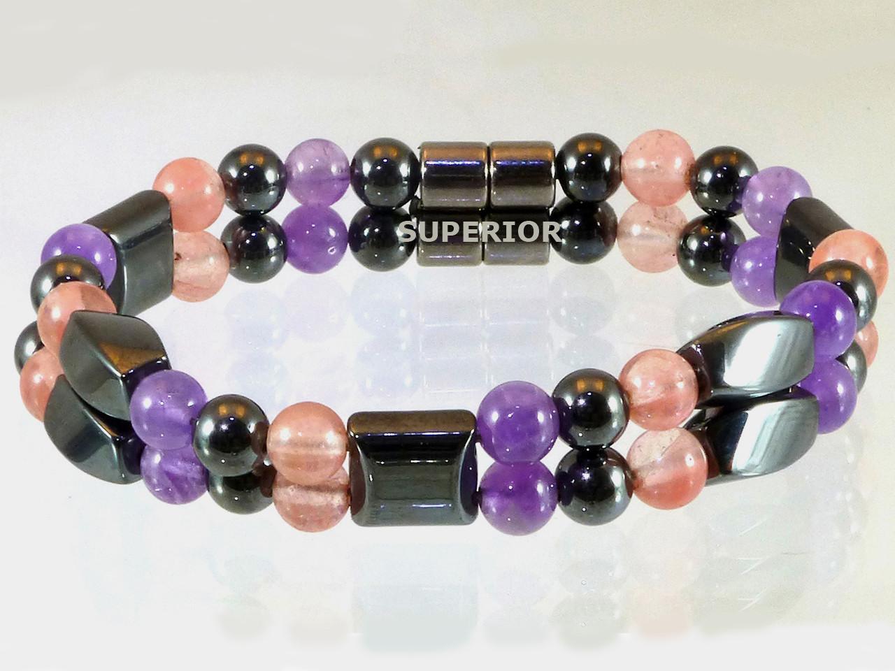 Hematite Magnetic Bracelet - Amethyst & Rose Quartz Double