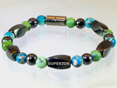 Magnetic Bracelet made with triple strength magnetic Hematite, Chrysoprase & Impression Jasper
