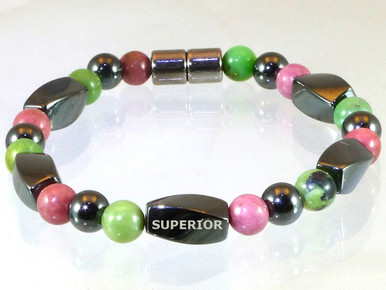 Magnetic bracelet made with triple strength magnetic Hematite, Chrysoprase & Rhodonite
