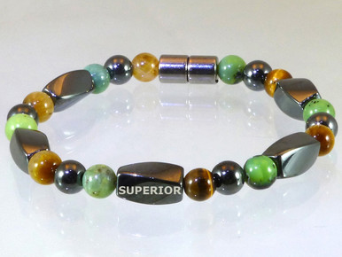 Magnetic bracelet made with triple strength magnetic Hematite, Chrysoprase & Yellow Tiger Eye