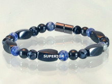 Magnetic Bracelet made with triple strength magnetic Hematite combined with Snowflake Obsidian and Sodalite gemstones