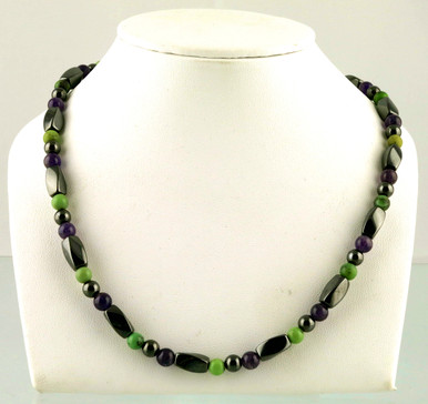 Magnetic necklace made with triple strength magnetic Hematite combined with Amethyst and Chrysoprase gemstones