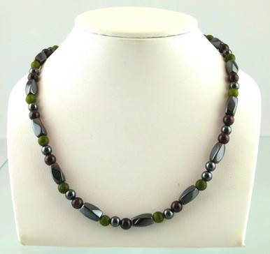 Magnetic necklace made with triple strength magnetic Hematite combined with Garnet and Jade gemstones