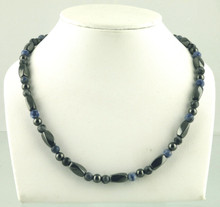 Magnetic necklace made with triple strength magnetic Hematite combined with Snowflake Obsidian and Sodalite gemstones