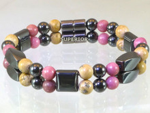 Magnetic bracelet made with triple strength magnetic Hematite combined with Picture Jasper and Rhodonite gemstones