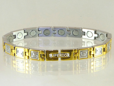 """Magnetic bracelet Greek Key SG stainless steel with 15-5200 Gauss magnets in a 7 3/8"""" length. It has a magnetic therapy pull strength of 950 grams."""