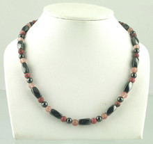 Magnetic necklace made with triple strength magnetic Hematite combined with Rhodonite and Rose Quartz gemstones