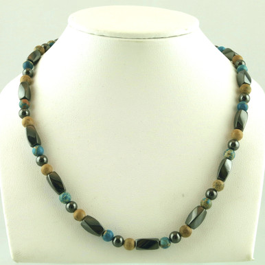 Magnetic necklace made with triple strength magnetic hematite combined with Turquoise Impression Jasper and Picture Jasper