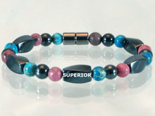 Magnetic bracelet made with triple strength magnetic hematite combined with gemstones Turquoise Impression Jasper and Rhodonite