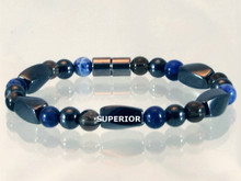 Magnetic bracelet made with triple strength magnetic Hematite combined with Smokey Quartz and Sodalite gemstones