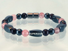 Magnetic Bracelet made with triple strength magnetic Hematite combined with the gemstones Garnet and Rose Quartz