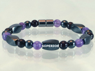 Magnetic bracelet with triple strength magnetic Hematite, Amethyst and Garnet