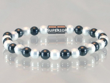 Magnetic bracelet made with triple strength 6mm round magnetized pearlized and black hematite
