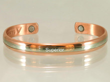 "The Two Worlds copper bracelet evolved from the British who prefer to keep their ailments private but they also realize the importance of wearing copper in contact with their skin. Their compromise is to wear copper with silver on top, they call it fondly: ""The best of two worlds""."